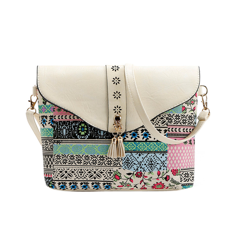 2017 Female Vintage Fashion Women Flower Print Handbags Bag Sweet Pattern Shoulder Messenger Bag High Quality A7
