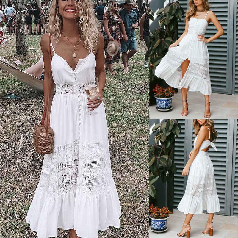 Thời trang Phụ Nữ Boho Dài Maxi Dress Mùa Hè Phụ Nữ Sexy Trắng Bãi Biển Buổi Tối Bên Sundress Không Tay Sling V-Cổ Dresses