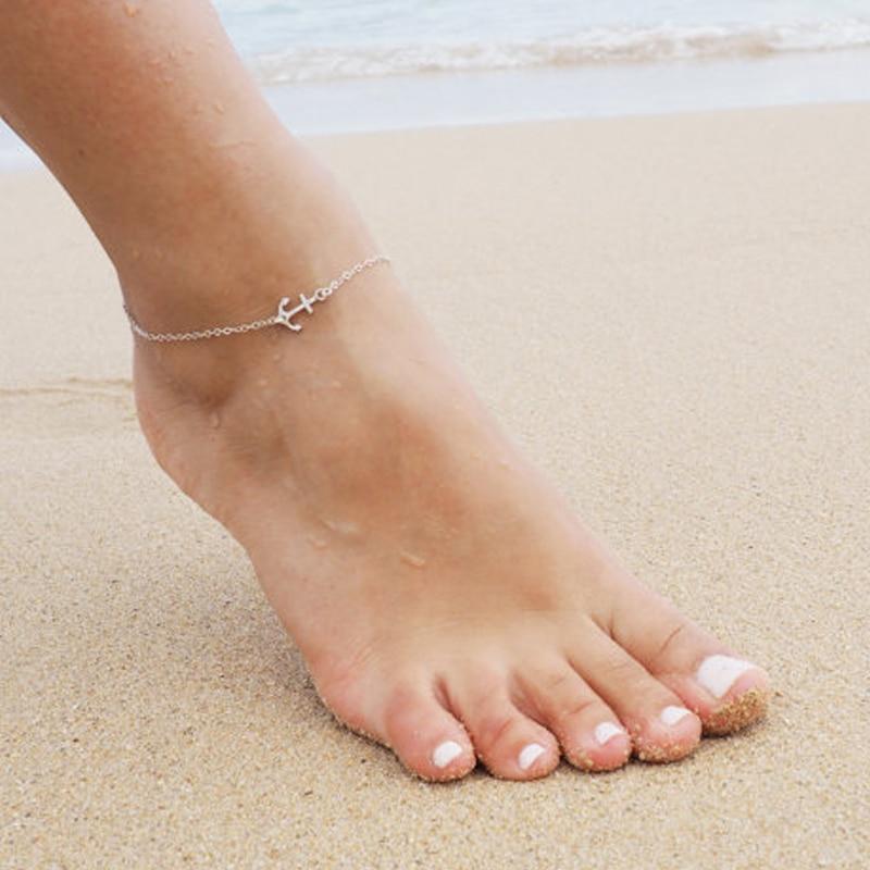 Summer Bracelet Foot jewelry Silver Strand Anchor Anklet JK078