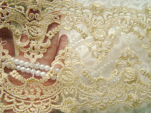 2 yards Vintage Style Bridal Gold Lace Trim, Embroidery Mesh wholesale lace