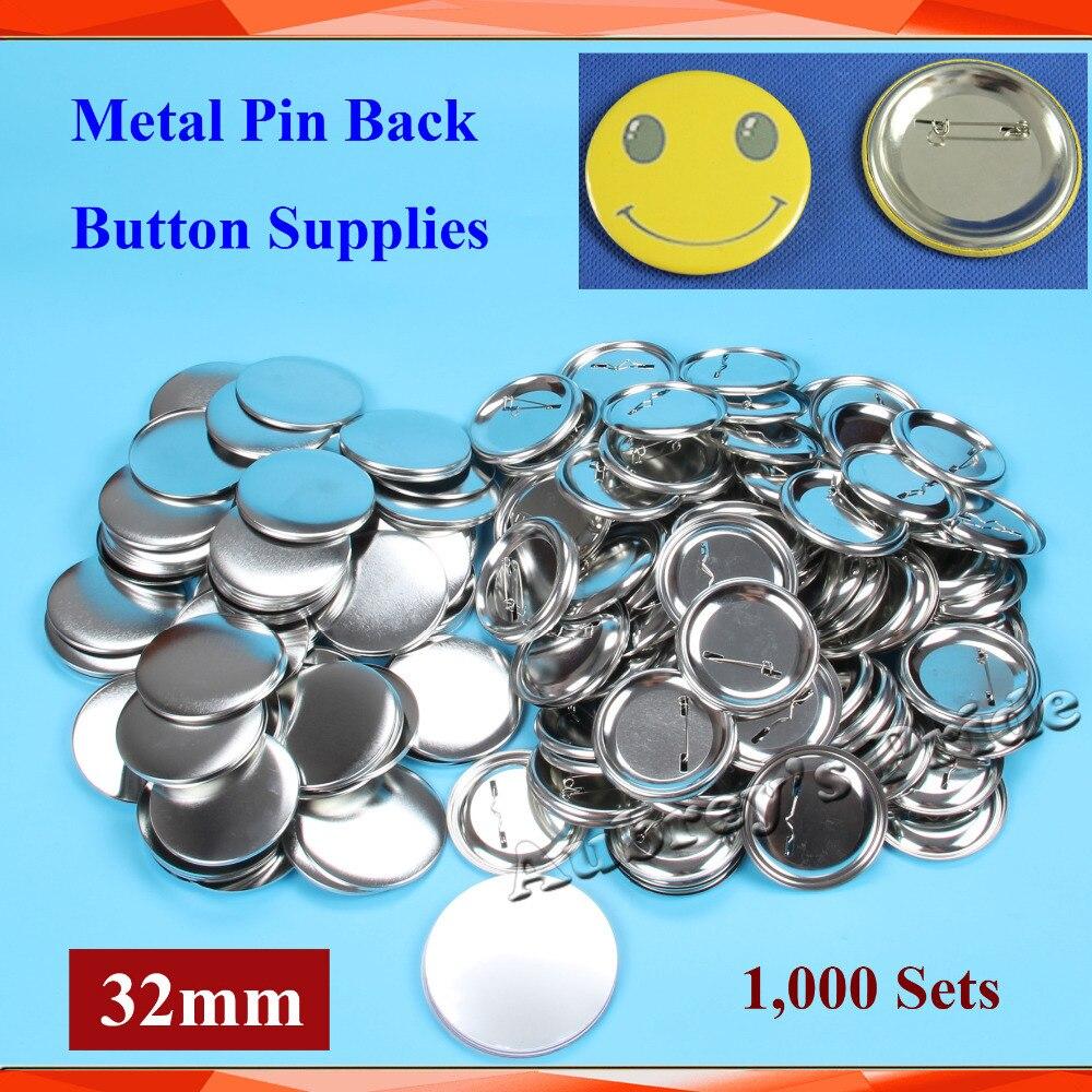 """Ev ve Bahçe'ten Düğme ve Rozet Parçaları'de 1 1/4 """"32mm 1,000 Setleri YENI Profesyonel Tüm Çelik Badge Button Maker Pin Geri Metal Pinback Düğmesi tedarik Malzemeleri'da  Grup 1"""