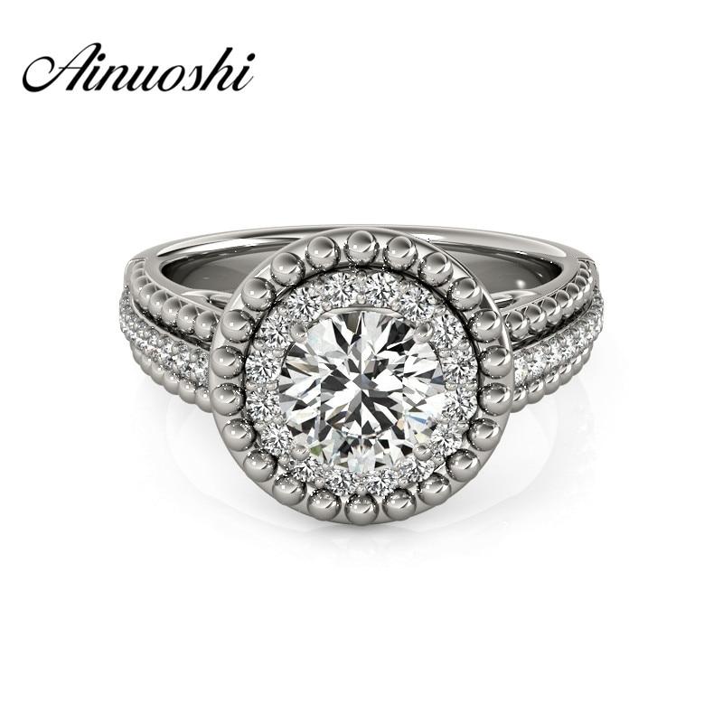 AINUOSHI Роскошные стерлингового серебра 925 юбилей свадебное кольцо Sona круглая огранка Halo Свадебное обручальное кольцо Ювелирные изделия Подарки