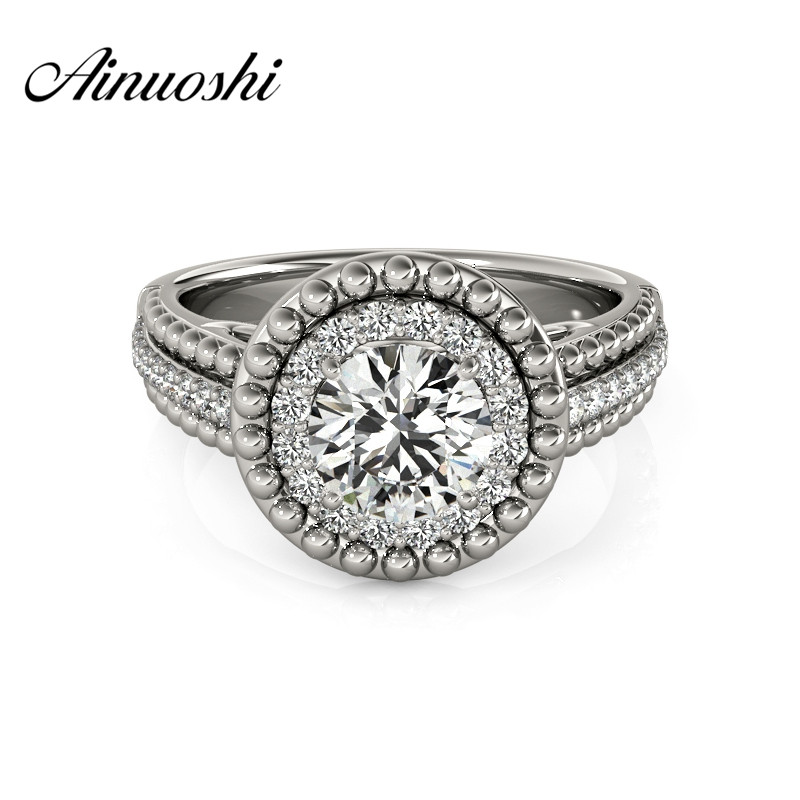 AINUOSHI Luxury 925 Sterling Silver Anniversary Bridal Ring Sona Round Cut Halo Bridal Ring Wedding Engagement Jewelry Gifts