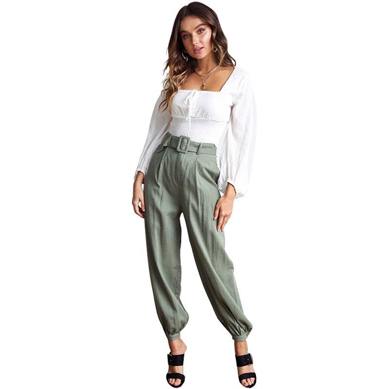 autumn casual women hip hop pants streetwear lady green loose pants cotton adjustable elegant mid waist pants with belt 81762