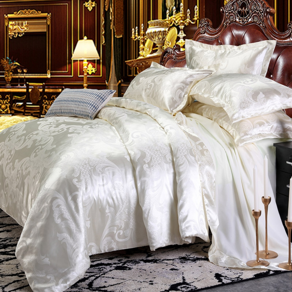 Dropshipping Wedding Luxury Bedding Sets Jacquard Queen/King Size Duvet Cover Set Wedding Bedclothes  Gold 2/3pcs Bedclothe