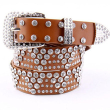 new fashion design genuine leather belts women rhinestone belt for women 125 cm extra length jean leather buckle strap