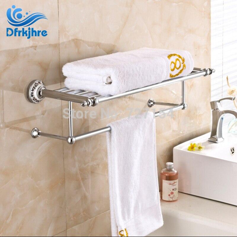 Modern Chrome Bathroom Towel Rack Holder Solid Brass Shelf Wall Mount Towel Bar free shipping bathroom products solid brass chrome single towel bar chrome towel holder towel rack bathroom accessories cs008d 2
