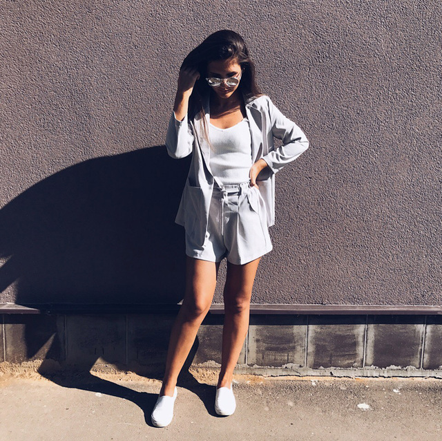Cotton Linen Summer Suit Female 2 Pieces Set Tracksuit for Women Loose Blazer & Bow Elastic Waist Short Pant Suits High Quality 4