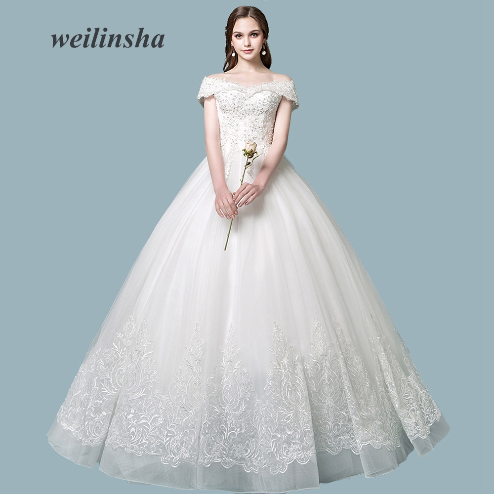 weilinsha Charming Ball Gown Tulle Wedding Dress 2018 Floor Length Custom Plus Size White Bridal Gown Appliques Vestido de Noiva