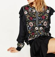 2017 WISHBOP WOMAN Black Floral EMBROIDERED Jacket round neck long sleeves Ribbed collar cuffs zip Front Ruffles frills detail