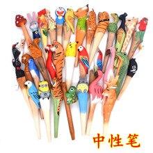 Creative cute cartoon woodcarving animal flamingo neutral pen handmade student stationery gift signature postage
