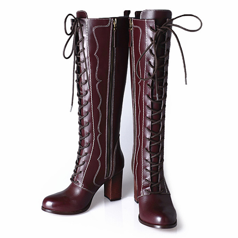Excellent  Womens Knee High Wedge Boot Navy Leather UK 6 Amazoncouk Shoes