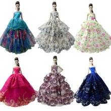 NK один шт принцессы Свадебное платье Благородный вечерние платье для куклы Барби модный дизайн наряд лучший подарок для девушки кукла 058A JJ