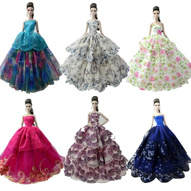 NK Um Pcs 2019 Princesa vestido de Noiva Noble Vestido de Festa Roupa Vestido Para Barbie Doll Design de Moda Melhor Presente Para A Menina boneca 058A JJ