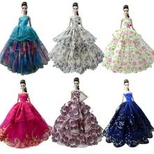 NK una piezas 2019 vestido de boda de la princesa Noble vestido de fiesta para muñeca Barbie de diseño de moda traje mejor regalo para chica muñeca 058A JJ