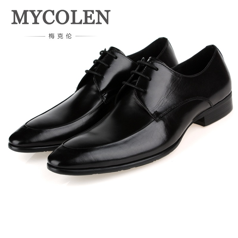 MYCOLEN Luxury Brand Men Flats Fashion High Quality Genuine Leather Shoes Cozy Mens Business Dress Personality Shoes For Men цена