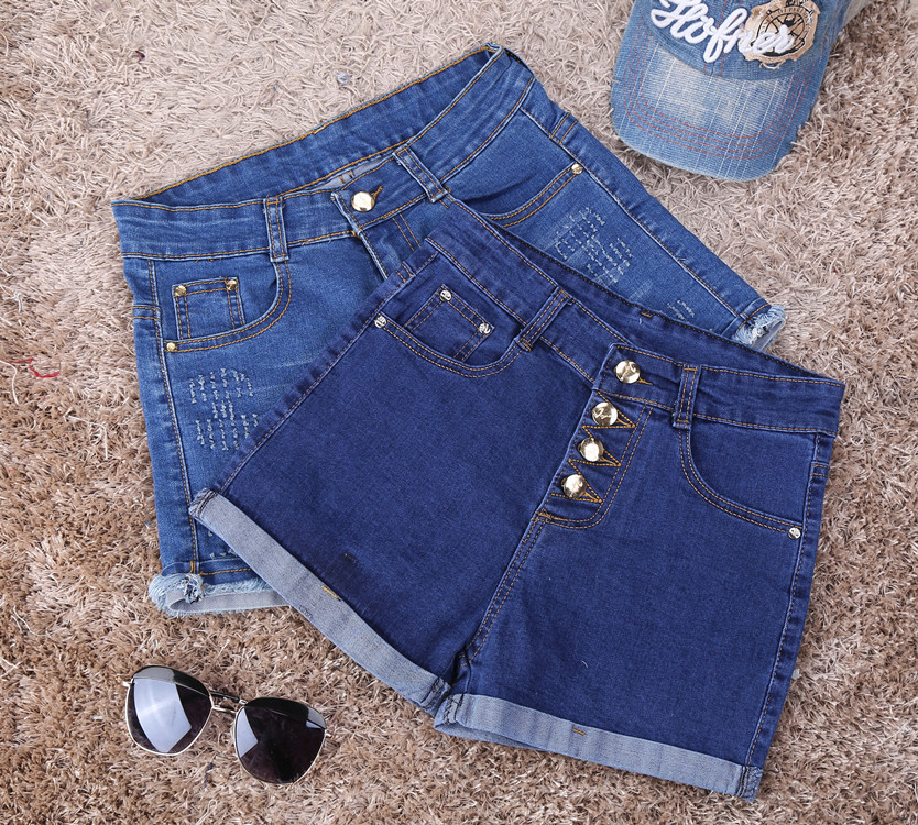 Spring high waist denim shorts women Single breasted Self-cultivation Cat whisker spandex Rolled edge sexy short jeans T1013