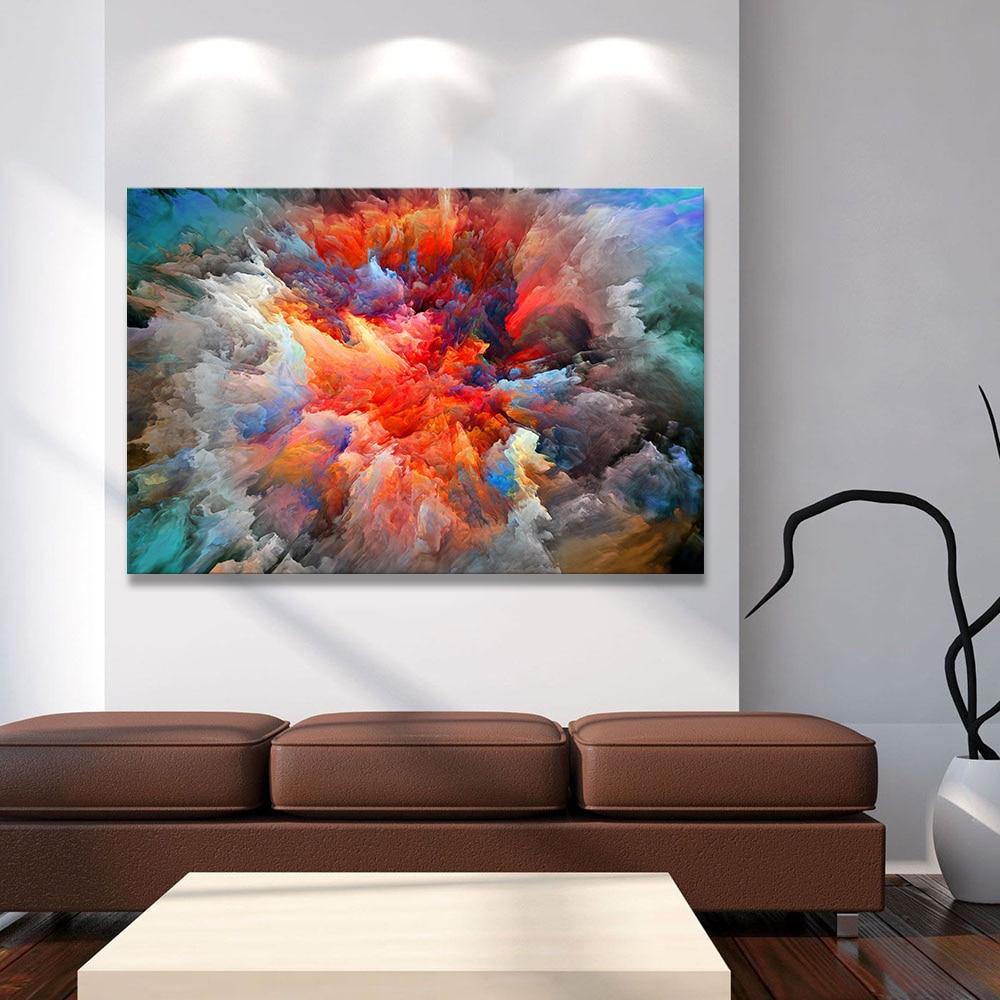 wandbilder wohnzimmer leinwand : Hdartisan Moderne Abstrakte Leinwand Malerei Bunte Wolken