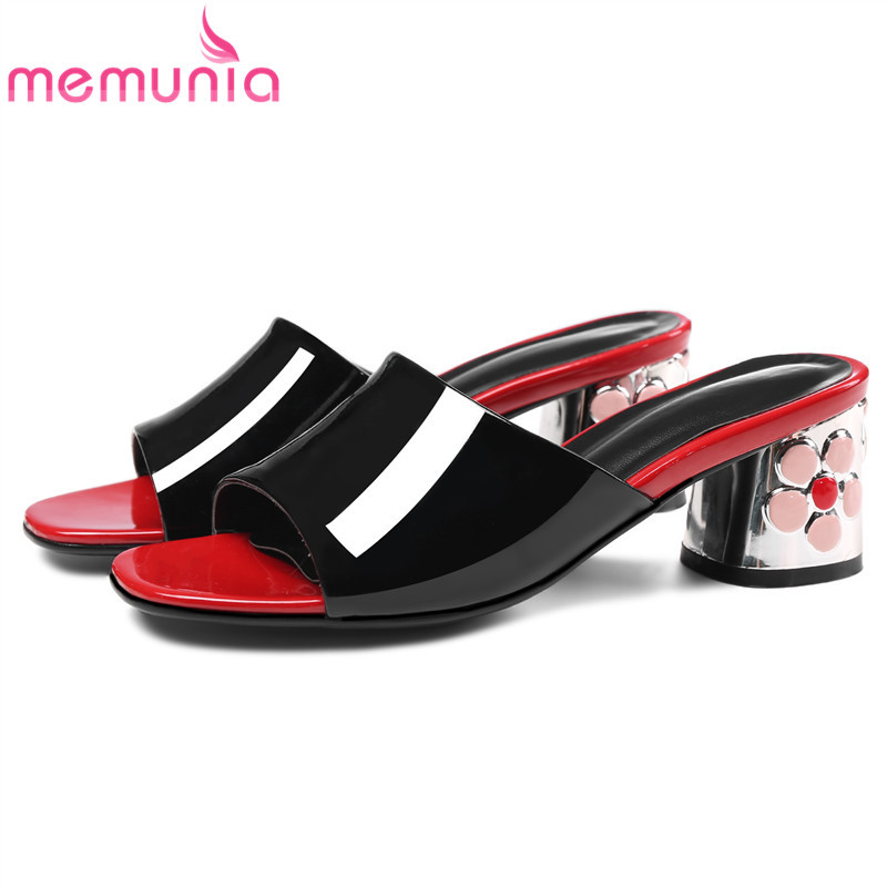 MEMUNIA Size 33 43 genuine leather shoes women sandals 2019 open toe slingback ladies mules patent