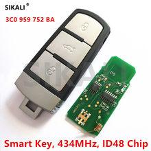 Sikali controle remoto inteligente automotivo, 434mhz, para vw/volkswagen › para passat/cc/magotan, controle de veículo alarme com chip id48