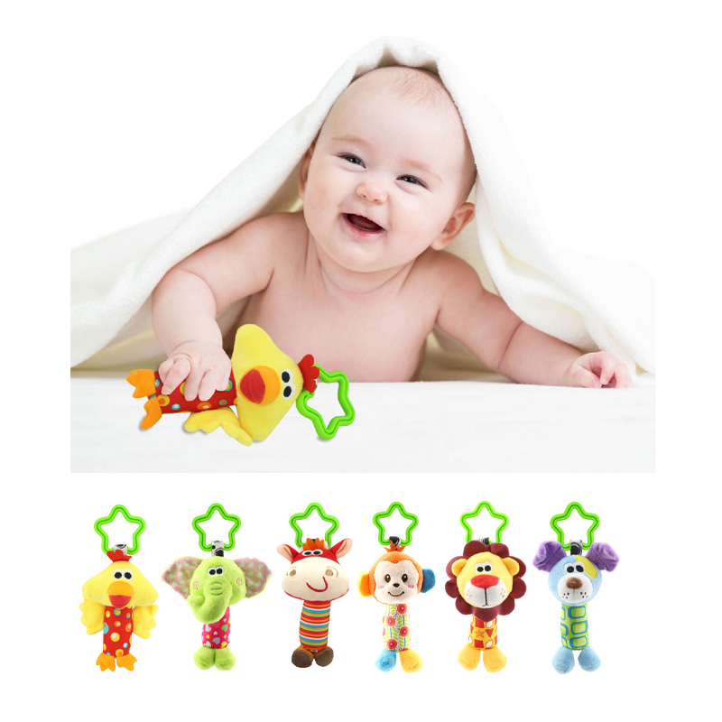 New 6 Style Baby Toys Rattle My First Tinkle Trio Hand Bell Multifunctional Plush Toy Stroller Mobile Gifts