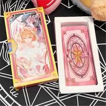 цена на Wholesale Magic Sakura Cards Captor Sakura 56 Pieces Game Cards With Pink Clow Magic Book Set New in Original Box