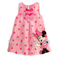 Retail Baby 2013 New Arrival Summer Girls Pink Minnie Mouse Outfit Polka Dot Dress Childrens Dresses