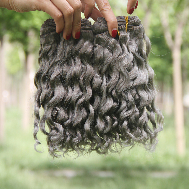 Hot Sale Silver Grey Human Hair Extensions 1pcs Grey Deep Curly