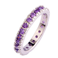 Vogue Simple Rings Puyple Amethyst Enchanting Cute 925 Silver Band Ring Size 6 7 8 9 10 11 12 13 Fashion Jewelry For Women