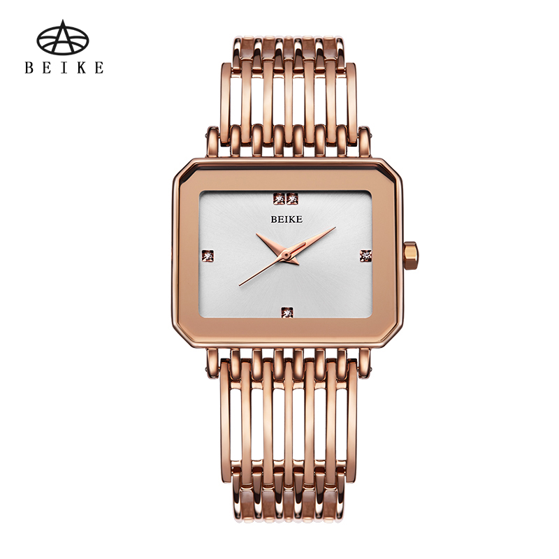 Luxury Wrist Watch Analog Quartz Watches Stainless Steel Rectangle With Drill Fashion Rhinestone Bracelet Gifts Gold 2016 new fashion women watch women wrist watch quartz watches analog stainless steel bracelet luxury gifts for ladies rose gold