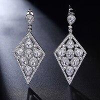 RainMarch Luxe Zirconia Vrouwen Oorbellen Crystal Geometrische Nageloorring pendientes largos Wedding Party Sieraden