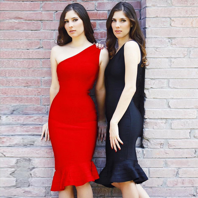 New Sexy One Shoulder Evening Party Dress Red Black Bodycon Mermaid Women Bandage Dresses Vestidos Night Out Dress