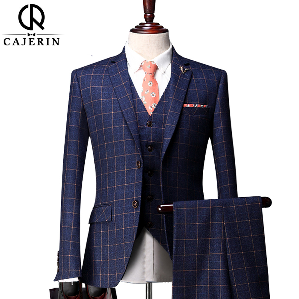 Cajerin Men Jacket Vest Pants Blue Tuxedos Slim Fit Suit