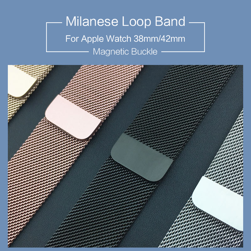 Milanese Loop Band 1:1 for Apple Watch 42mm 38mm Milanese Magnetic Bracelet Stainless Steel Strap for Iwatch Band Series 1 2 3 crested milanese loop strap metal frame for fitbit blaze stainless steel watch band magnetic lock bracelet wristwatch bracelet