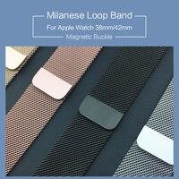 Milanese Loop Band 1:1 para Apple Watch 42mm 38mm Milanese magnético pulsera de acero inoxidable correa para iwatch banda serie 1 2 3