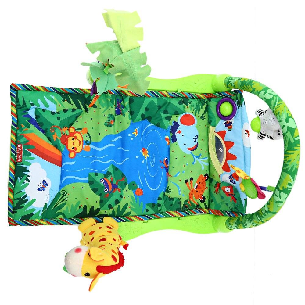 Musique forêt tropicale bébé jouer tapis souple activité jouer Gym jouet adapté pour bébé encourager les enfants à coup de pied tapis d'escalade ABS tissu - 5