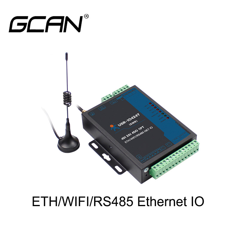 Industrial 4-way Network Remote IO Controller With 4 DI + 2 AI + 4 DO + 1 PT Support LAN/WIFI, RS485, GPRS Remote Control