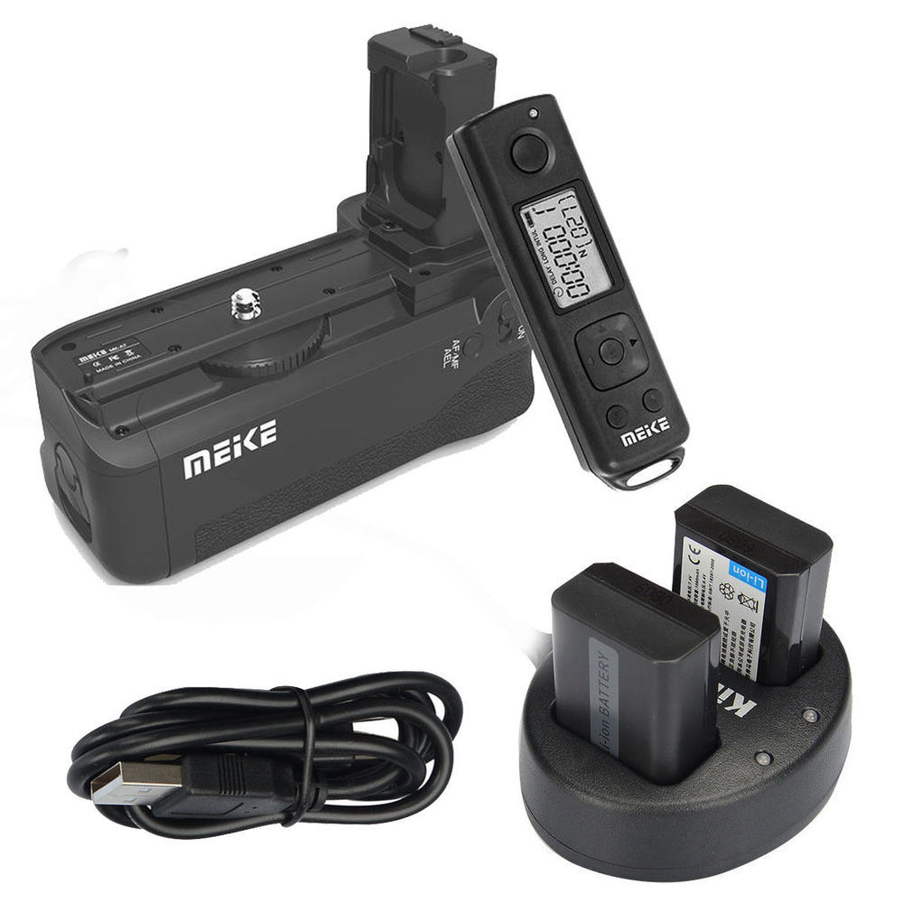 MEIKE Wireless Control Battery Grip for Sony A7 A7r A7s as VG-C1EM + 2* NP-FW50 meike wireless control battery grip for sony a7 a7r a7s as vg c1em 2 np fw50 battery battery charger