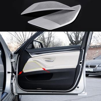 2pcs Aluminium Front Door Sound Panel cover Trims For BMW 5 Series F10 2011-2016