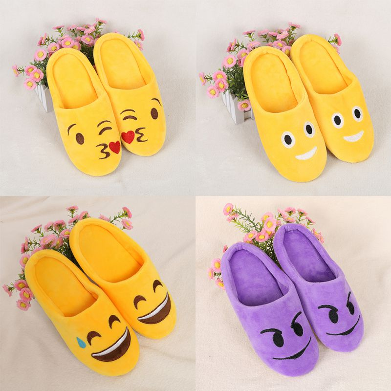 2018 Indoor Warm Emoji Slippers Winter Cotton Plush Slipper Emoji Shoes Smiley Emoticon Winter Soft Cartoon Shoes