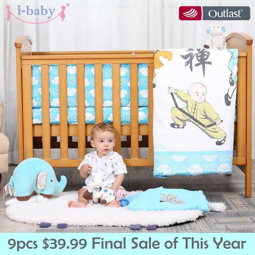 I-bebê conjunto de cama do bebê 9 pçs berço conjunto recém-nascido kungfu meninos 100% algodão impresso folha edredon travesseiro pára berço conjuntos no berço