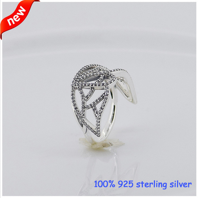 Compatible with European Jewelry Butterfly Wing Silver Rings New 100% 925 Sterling Silver Ring DIY Women Jewelry Wholesale 08R45
