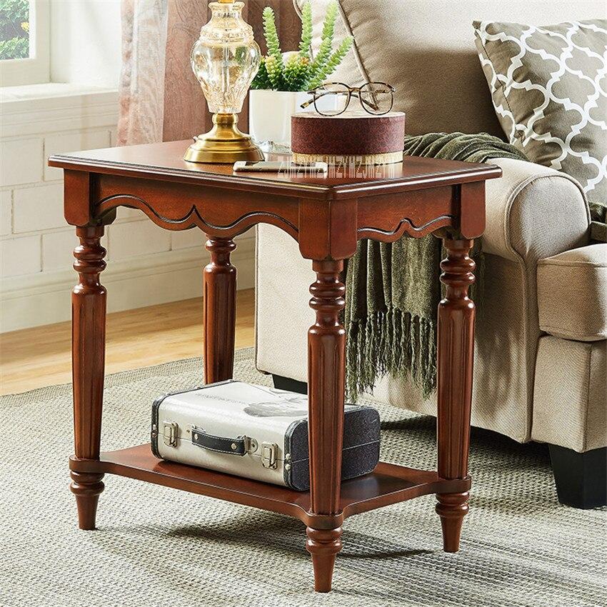TS-1026 forme carrée MDF bois massif jambe fin Table meubles de maison créative bouleau bois Table d'appoint salon petite Table basse