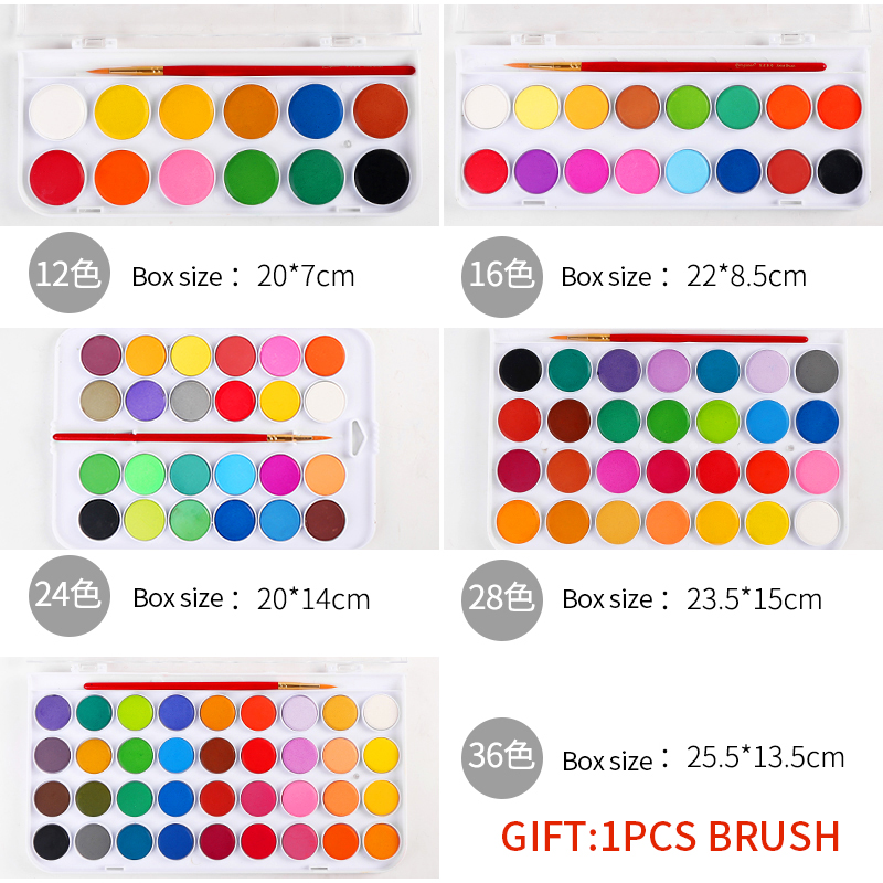 BGLN 12/16/24/28/36Colors Solid Watercolor Paint Set Bright Color Portable Watercolor Pigment Powder Set For Kids Students