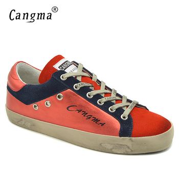 CANGMA Women Retro Brand Flats Cow Suede Shoes Genuine Leather Sneakers Red Shoes Female Brand Footwear Girls Trainers Plus Size