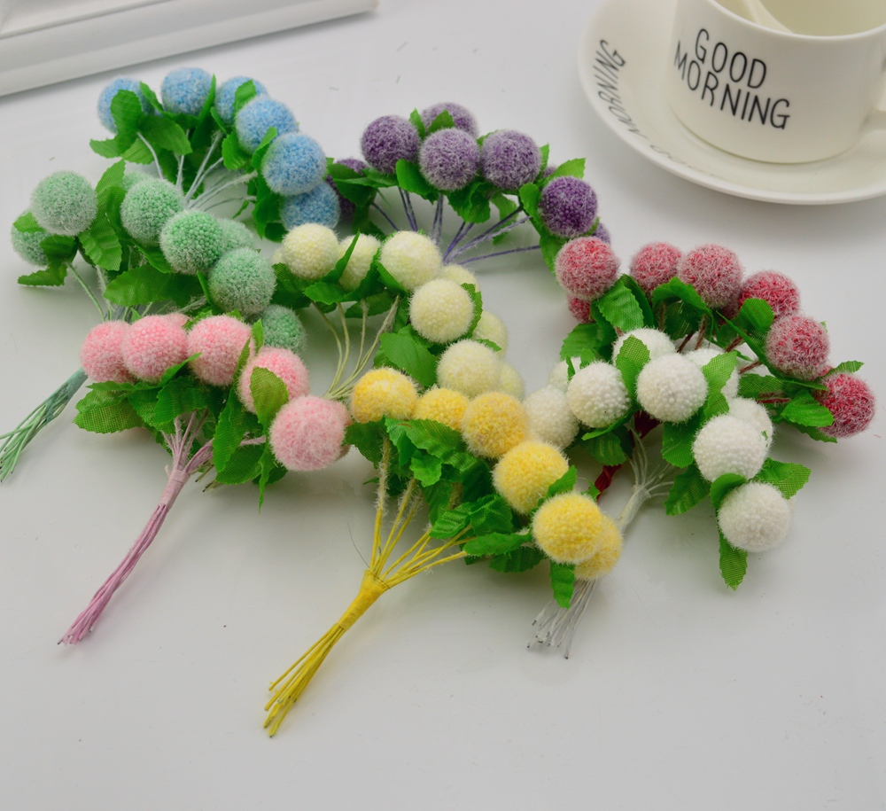 6pcs cheap Artificial flowers for Home Garden Wedding Decoration DIY Wreath Gift Scrapbooking Craft simulation PomPon Balls