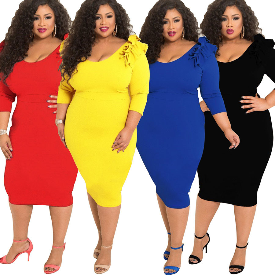 US $19.99 |new style African Women clothing Dashiki fashion elastic High  material Pure color plus size dress L XL 2XL 3XL 4XL 5XL 7071-in Africa ...