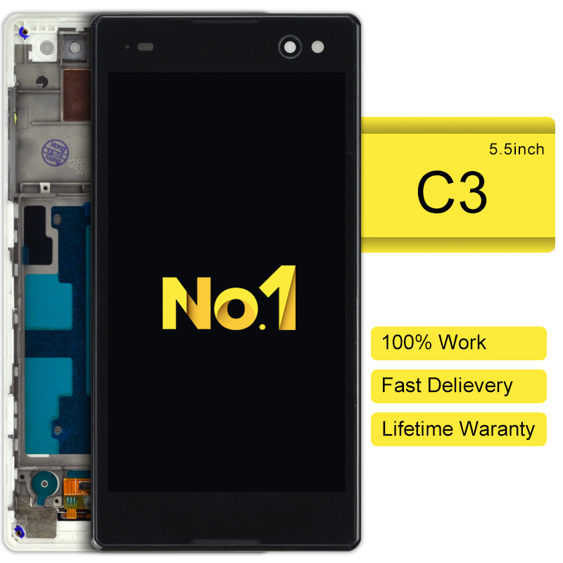 ФОТО 2015 10pcs alibaba china highscreen clone For Sony Xperia C3 Display With Frame Touch Assembly Replacement Freeshipping