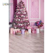 Laeacco Рождественская елка розовый дом подарки деревянный пол