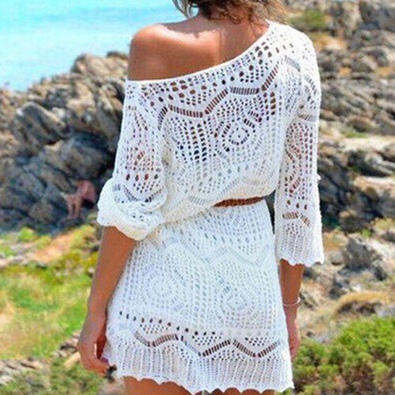 Women Lace Floral Summer Tops Bohemian Sashes Long V-Neck Sun Wear Soft White Crochet Blouses
